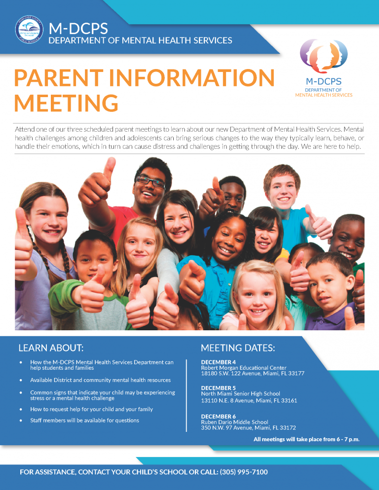 Mental Health Flyer Parent Meeting